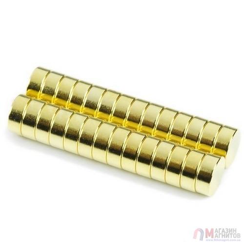 Ø D8mm х H1,5 Gold - Магнит Шайба